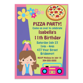 Aniversário do partido da pizza da menina convite personalizados