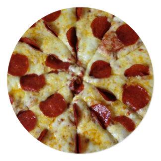 Aniversário do partido da pizza de Pepperoni Convite Quadrado 13.35 X 13.35cm