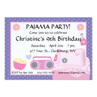 Aniversário do partido de pijama convites personalizado