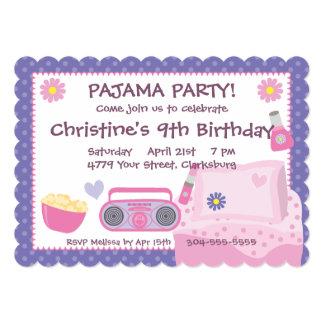 Aniversário do partido de pijama convite 12.7 x 17.78cm