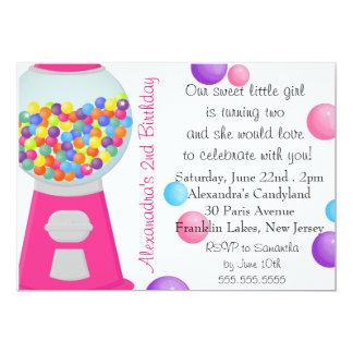 Aniversário do party girl dos doces da máquina da convite 12.7 x 17.78cm