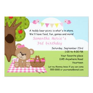 Aniversário do piquenique da menina do urso de convite 12.7 x 17.78cm