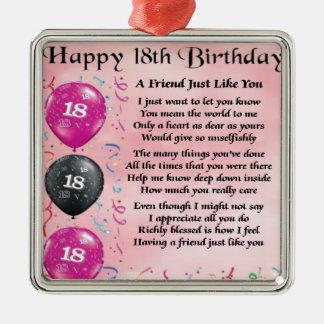 Aniversário do poema do amigo 18o ornamento quadrado cor prata