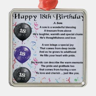 Aniversário do poema do filho 18o ornamento quadrado cor prata