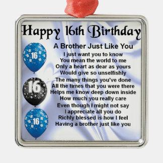 Aniversário do poema do irmão 16o ornamento quadrado cor prata