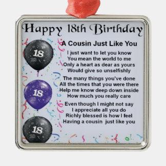 Aniversário do poema do primo 18o ornamento quadrado cor prata