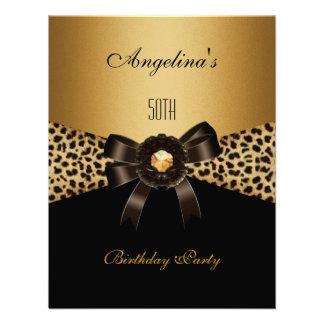 Aniversário do preto de Brown do café do leopardo  Convite Personalizados