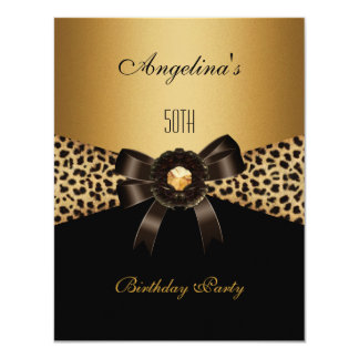 Aniversário do preto de Brown do café do leopardo Convite 10.79 X 13.97cm