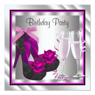 Aniversário do preto do rosa quente da mulher dos convite quadrado 13.35 x 13.35cm