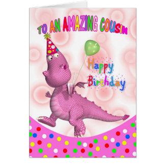 Aniversário do primo com bebida e o balão cartão comemorativo