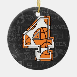 Aniversário do quadro do basquetebol 4o ornamento de cerâmica redondo