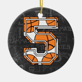 Aniversário do quadro do basquetebol 5o ornamento de cerâmica redondo