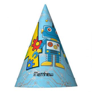 Aniversário do robô 4o chapéu de festa