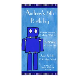 Aniversário do robô 5o cartões com foto
