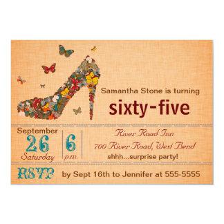 Aniversário do salto alto das borboletas o 65th convite 12.7 x 17.78cm