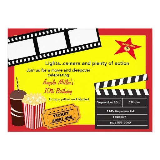 Aniversário do Sleepover e da noite de cinema Convite