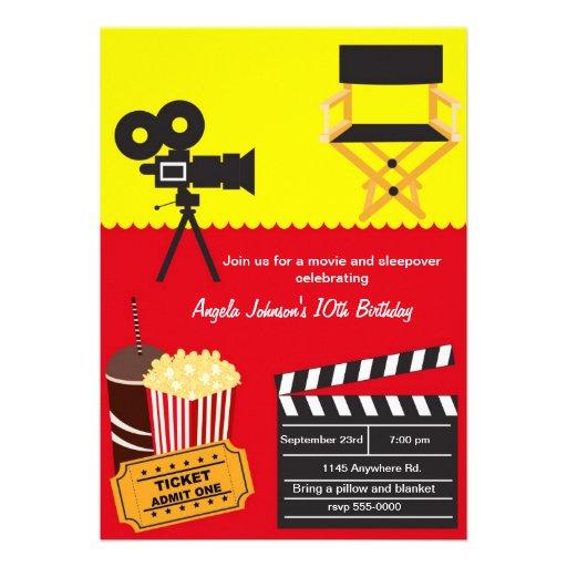 Aniversário do Sleepover e da noite de cinema Convites Personalizado