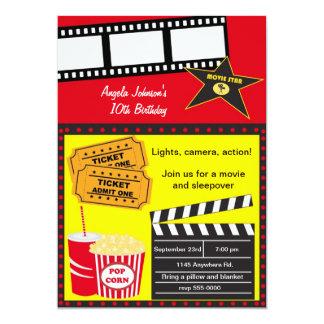 Aniversário do Sleepover e da noite de cinema Convite 12.7 X 17.78cm