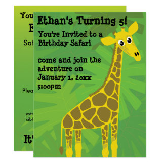 Aniversário do tema do safari convite 10.79 x 13.97cm