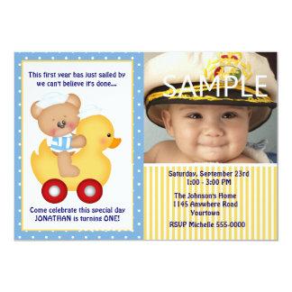 Aniversário do urso de ursinho do marinheiro e do convite 12.7 x 17.78cm