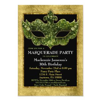 Aniversário do verde do ouro do convite de festas