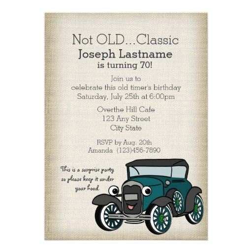 Aniversário do vintage do carro antigo e da serapi convites personalizado
