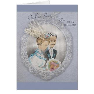 Aniversário do vintage para o cartão do marido