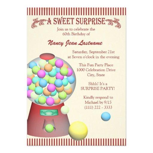 Aniversário doce da máquina de Gumball da surpresa Convite Personalizados