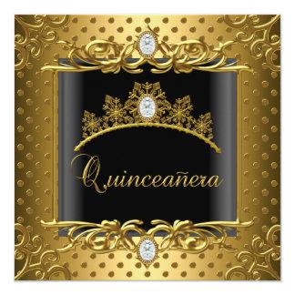 Aniversário dos adolescentes do preto do ouro da convite quadrado 13.35 x 13.35cm