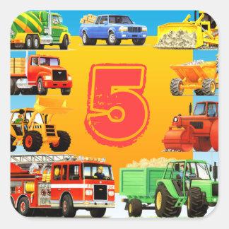 Aniversário dos caminhões grandes 5o adesivo quadrado