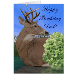 Aniversário dos cervos do fanfarrão do Whitetail Cartão Comemorativo