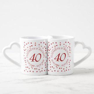 Aniversário dos confetes 40th dos corações do rubi conjunto de caneca de café