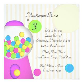 Aniversário dos doces de Bubblegum Convite Quadrado 13.35 X 13.35cm
