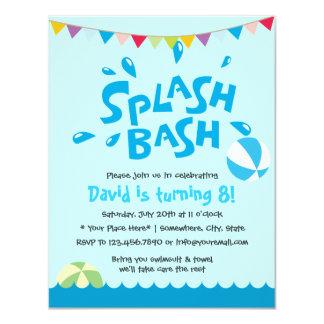 Aniversário dos meninos da festa na piscina do convite 10.79 x 13.97cm