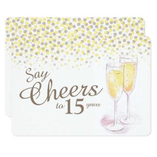 Aniversário dos vidros do champanhe dos elogios convite 12.7 x 17.78cm