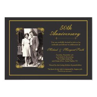Aniversário dourado convite 12.7 x 17.78cm