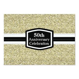 Aniversário dourado do brilho 50th convite 12.7 x 17.78cm