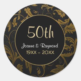 Aniversário dourado do damasco 50th - personalize adesivo