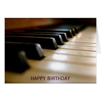 Aniversário elegante da música do teclado de piano cartão comemorativo