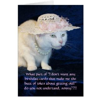 Aniversário engraçado customizável do gato para a cartão comemorativo