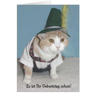 Aniversário engraçado do alemão do gato cartão comemorativo