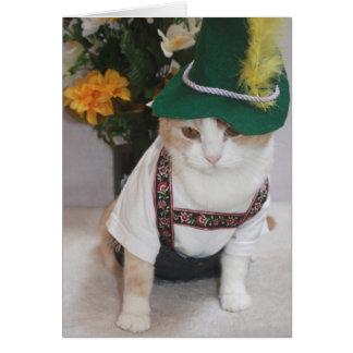 Aniversário engraçado do alemão do gato cartões