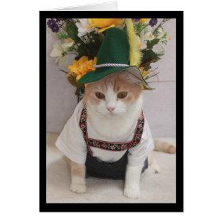 Aniversário engraçado do alemão do gato cartão
