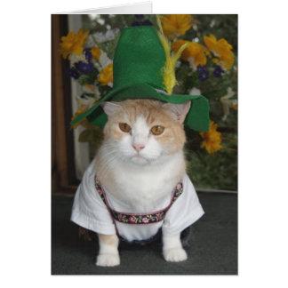 Aniversário engraçado do alemão do gato cartoes