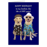 Aniversário engraçado do cão/laboratório para o ir cartão