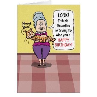 Aniversário engraçado do Hairball do gato Cartão
