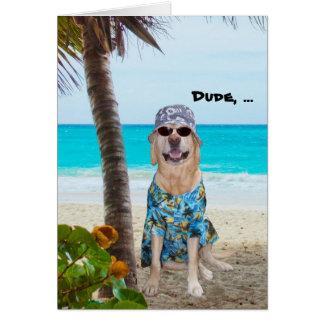 Aniversário engraçado do Hawaiian do cão/laboratór Cartões