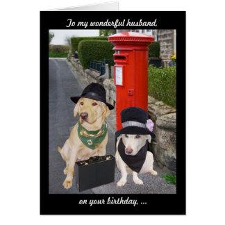 Aniversário engraçado do marido do laboratório cartão comemorativo