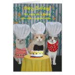 Aniversário engraçado dos gatos do cozinheiro chef cartões