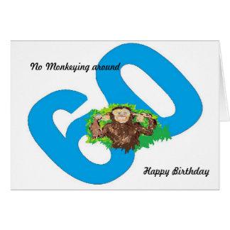 Aniversário engraçado que gira 60 nenhum Monkeying Cartão